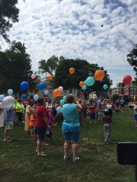 Balloons released in honor of Nancy Krapfl