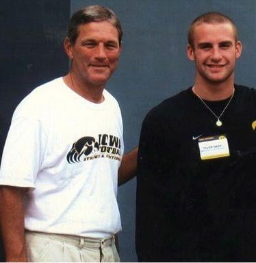 Coach Ferentz visiting Sash when he was a junior in high school at Oskaloosa.