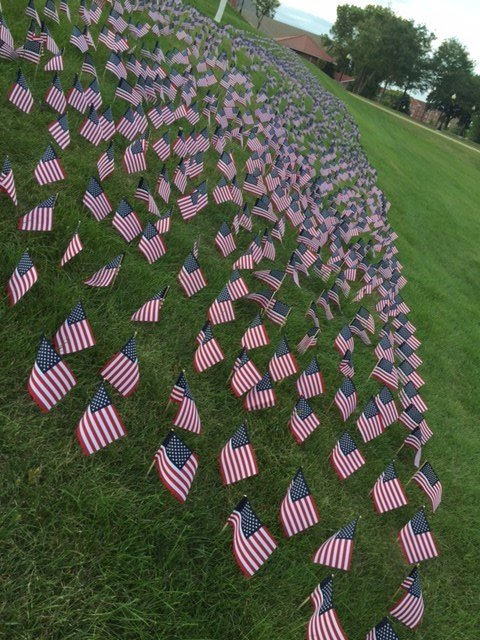 3,000 American flags on the Loras College campus