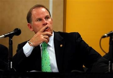 (AP Photo/Jeff Roberson, File). FILE - In this Friday, April 11, 2014, file photo, University of Missouri President Tim Wolfe participates in a news conference in Rolla, Mo.