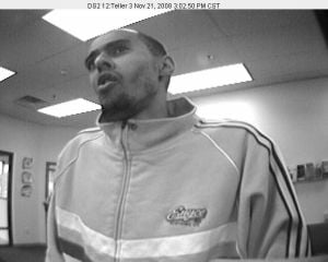 Surveillance image from bank security system.