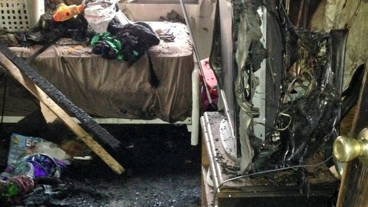 This is the bedroom where the fire started.