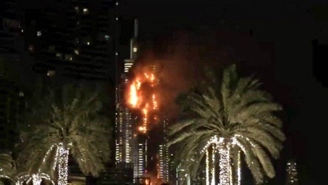 A skyscraper burns in Dubai