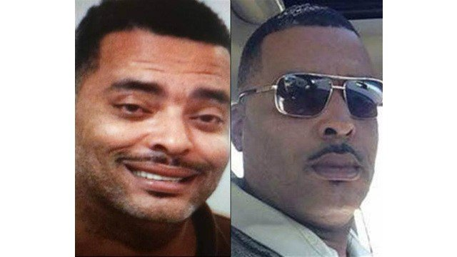 A photo composite of Donald A Chip Pugh, left is his initial mugshot and right, the photo he sent police.