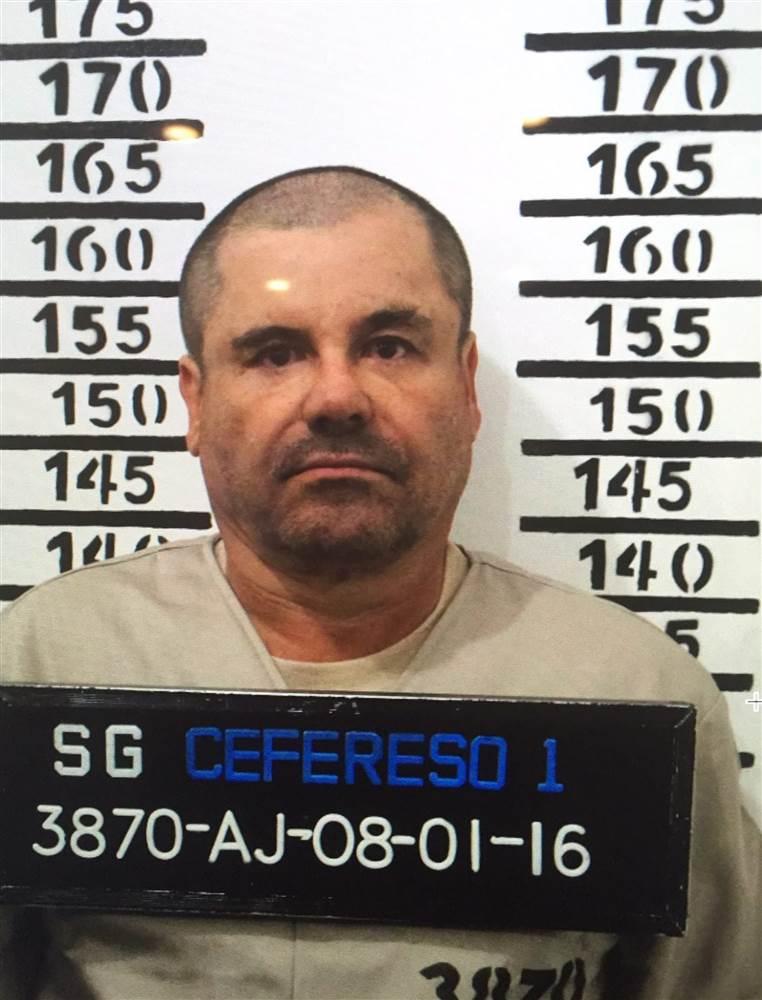 The official booking photo of Joaquin 'El Chapo' Guzman at the Centro Federal de Readaptacion Social 1 (Cefereso) of the high security prison in Mexico City, Mexico. CEFERESO / via EPA