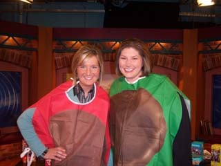 Danielle and Jennifer sporting the Girl Scout costumes