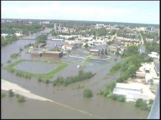 University of Iowa campus at the height of June's flood