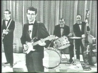 Buddy Holly performing on TV in the 1950's.