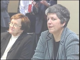 Homeland Security Secretary Janet Napolitano with Iowa Lt. Gov. Patty Judge