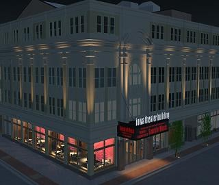 OPN Architects drawing shows exterior renovations for Theatre Cedar Rapids' home in the Iowa Theater Building. The project will begin this spring, with the flood-damaged structure back in operation by February of 2010.