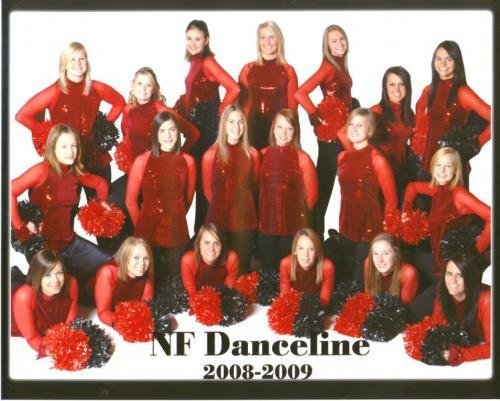 Hilary Streif (bottom left) was very involved in school activities, shown here with the NF Danceline.
