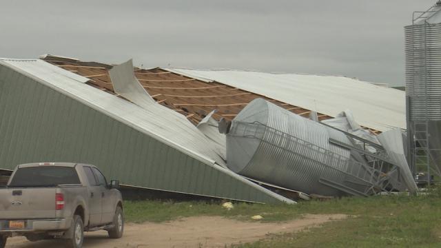 Damage to a hog barn in Jones County.