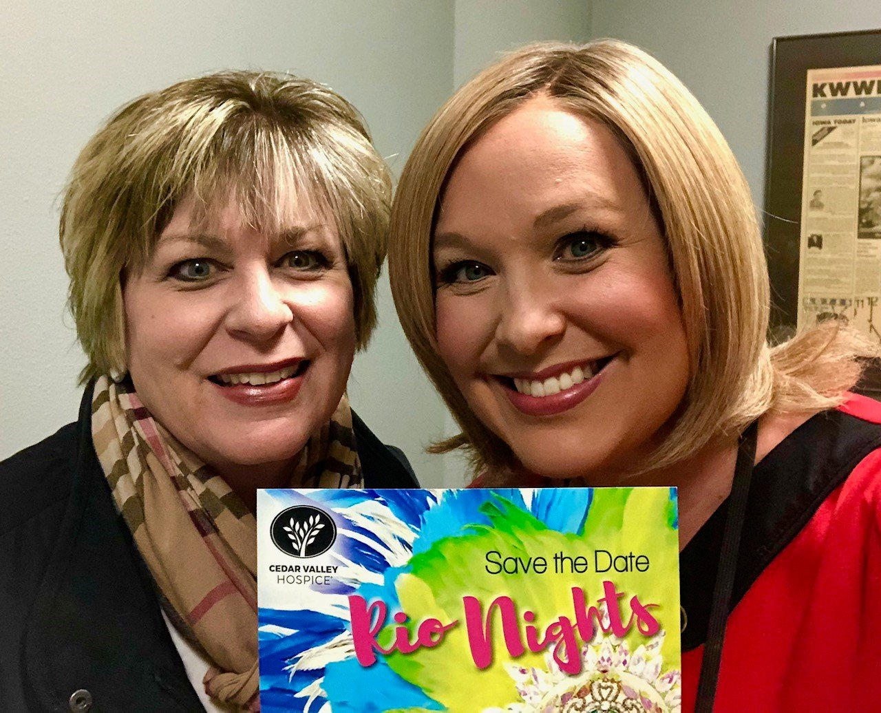 Cedar Valley Hospice's Chris Olds & KWWL's Abby Turpin during a planning meeting for Rio Nights