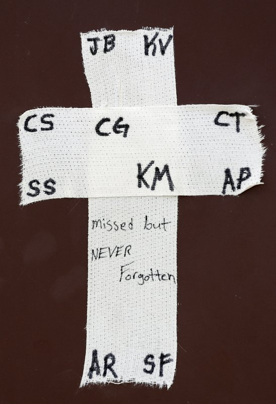 (AP Photo/David J. Phillip). A tape cross with the initials of victims of the Santa Fe High School shooting is placed over the dugout of the Santa Fe baseball team before a baseball game against Kingwood Park High School in Deer Park, Texas, Saturday, ...