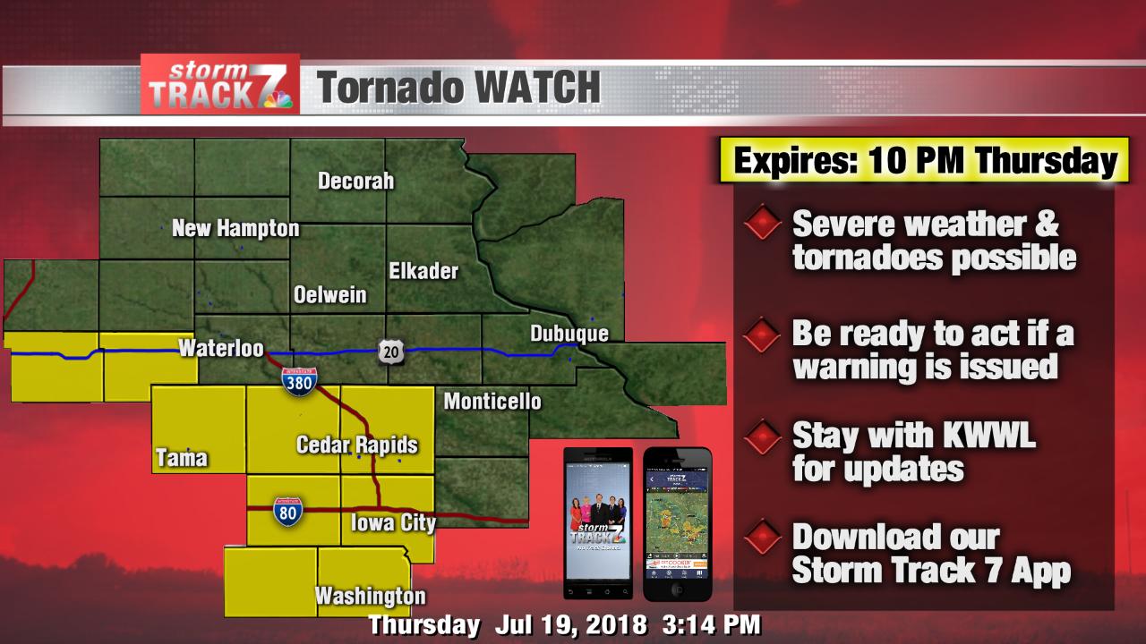 Tornado WATCH until 10 PM
