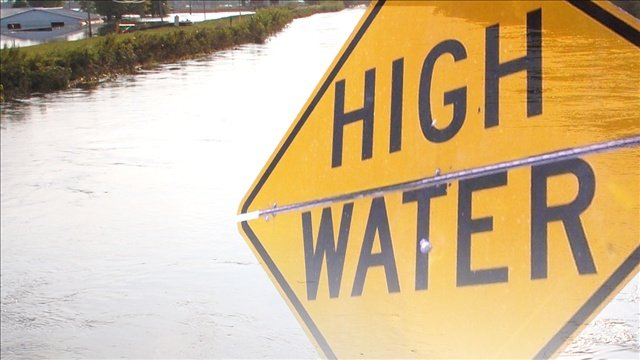 Flood waters may be the cause of a train derailment Monday in Charles City.