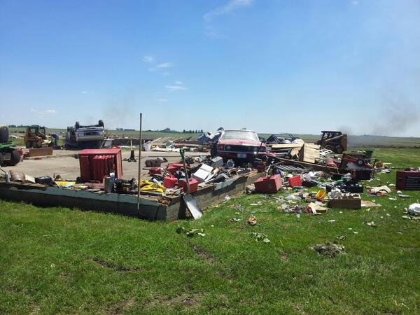 The couple said they lost four steel bins and three buildings, including their garage, in Wednesday's tornado.