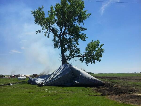 Debris from a nearby farm flew over the Dorenkamp's property in Wednesday's tornado.