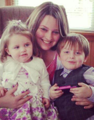 Rachel Denny and her two children.