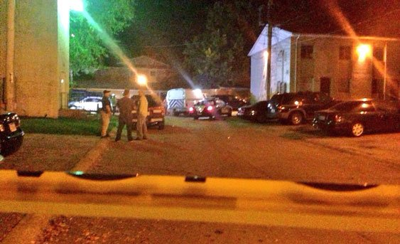 Police talk to individuals in Dolphin Lake Point in Iowa City.