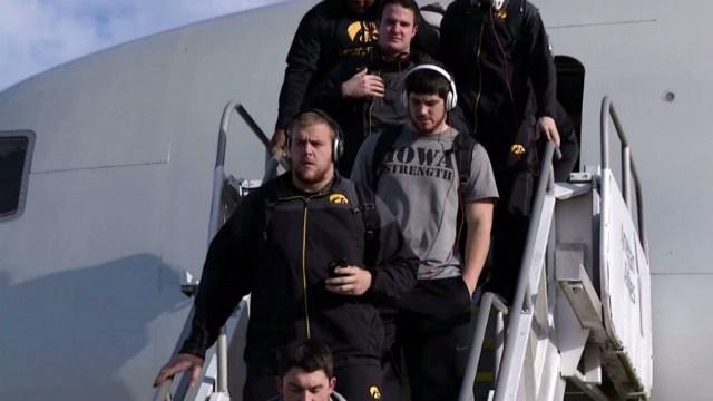The Hawkeyes deboard in Jacksonville