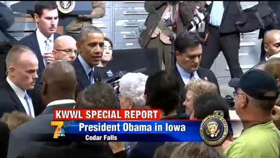 President Obama shakes hands with the invited crowd after his speech at 3 p.m. Wednesday, Jan. 14, at Cedar Falls Utilities.