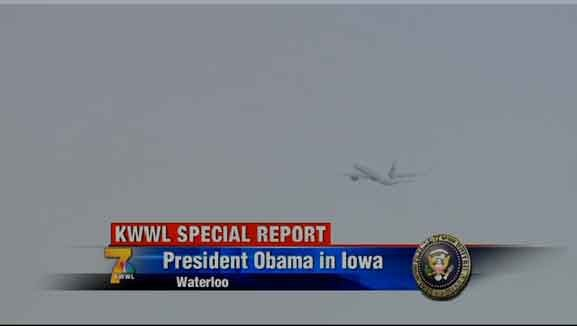 Air Force One leaves the Waterloo airspace at 3:30 p.m. Wednesday, Jan. 14, 2015.