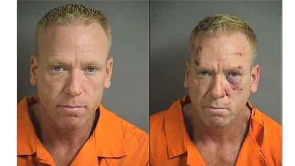 Kenneth Johns mug shot on first charge and after second charge (following jail assault)